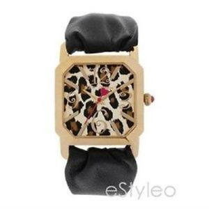 Betsey Johnson Watch Leather Leopard Dial Black